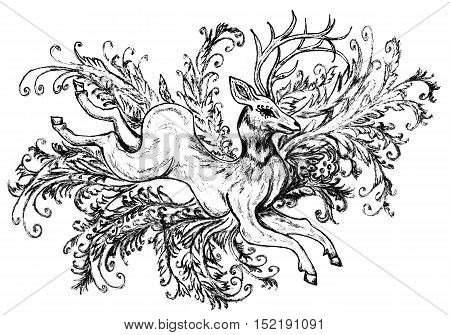 Stylized deer and decorative abstract floral ornaments.