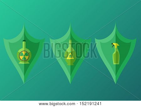Set of vector flat shields with radioactive and hazardous chemicals. Vector element for your design