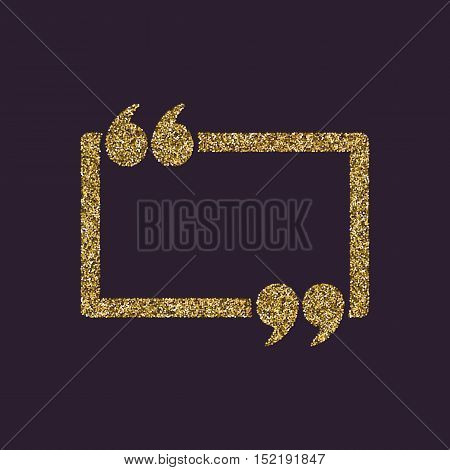 The Quotation Mark Speech Bubble icon. Quotes, citation, opinion symbol. Gold sparkles and glitter Vector illustration