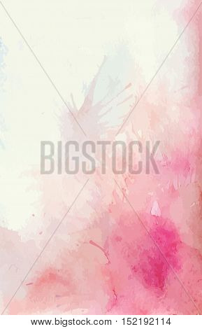 Watercolor background with splashes of pink and tender spots. Vector background for your creativity