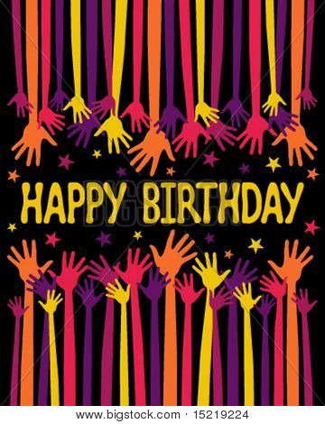 Colorful Happy Birthday hands card vector.
