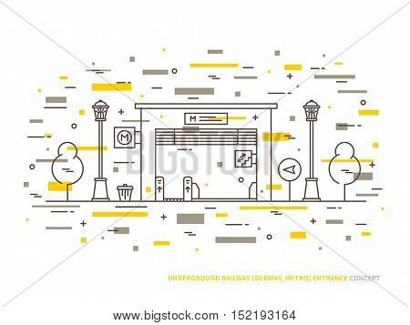 Subway railroad underground railway entrance station gate linear vector illustration. Subway railroad underground railway entrance city public exit gate creative line concept.