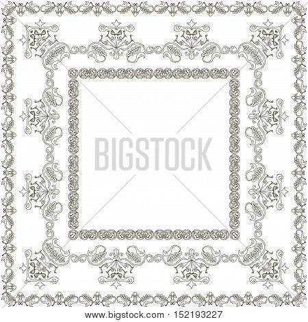 Symmetric black and white square pattern, brush, vector illustration