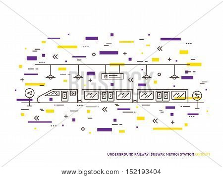 Subway underground railway station linear vector illustration. Subway underground railway station train public tube railroad platform creative graphic concept.