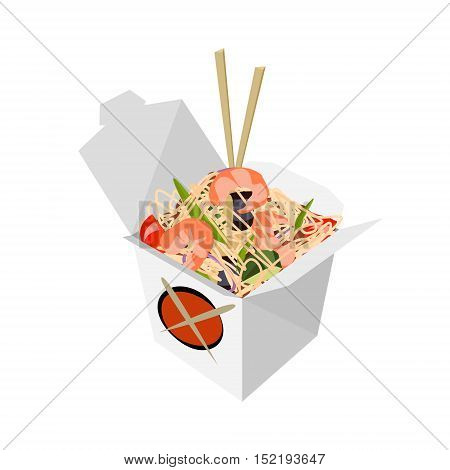 Paper Box Chinese noodles and chopsticks WOK. Noodles with shrimp. Food delivery vector