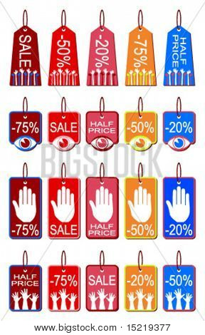 Stop, look and grab a bargain tags vector.