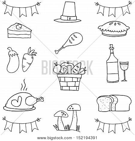 Doodle of element thanksgiving hand draw vector art