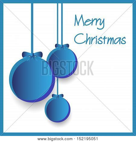 Three Blue Paper Christmas Decoration Baubles Hanging Eps10