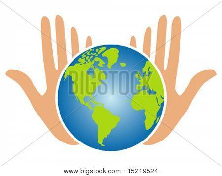 Erden Zukunft in unsere Hände-Vektor.