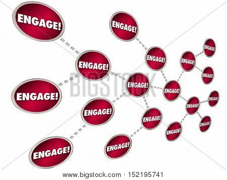 Engage Chain Connections Interaction Communication 3d Illustration