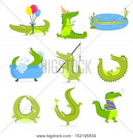 Vector set with cute cartoon crocodiles. Cartoon animal vector isolated cute crocodile green character funny predator. Nature comic humor predator cheerful alligator illustration cute crocodile.