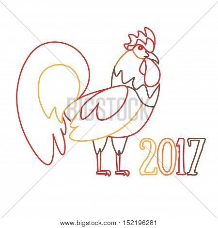 Cock Symbol of New Year Outline Pixel Perfect Art. Material Design. Vector illustration