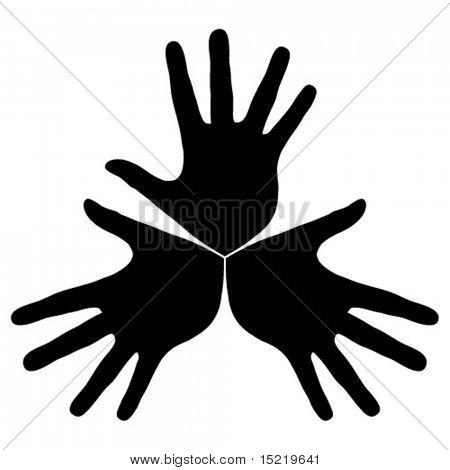 Hand trio vector.