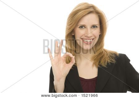 "Businesswoman Gestures ""Ok"""