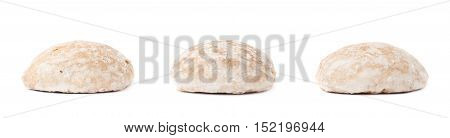 Set of square small gingerbread cakes with sugar powder isolated over the white background