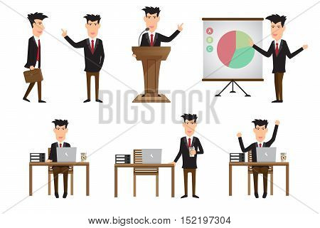 Set of business man in various poses. action and characters in his office working coffee time presentation vector illustration.