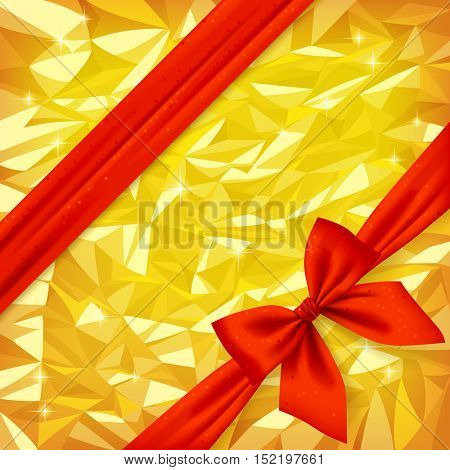 Red ribbon and bow on bright gold foil texture background. Gift package and greeting card. Vector illustration