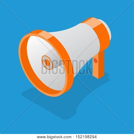 Megaphone on a Blue Background for Business, Promotion and Advertising. Isometric View. Loudspeaker Symbol. Vector illustration