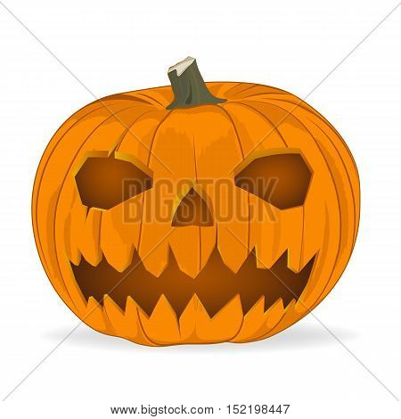 vector illustration. animated evil pumpkin. looks at you. sign icon material design. evil and hellish grin