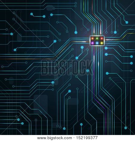 Digital Technology Background. Glowing Blue Electric Microchip.
