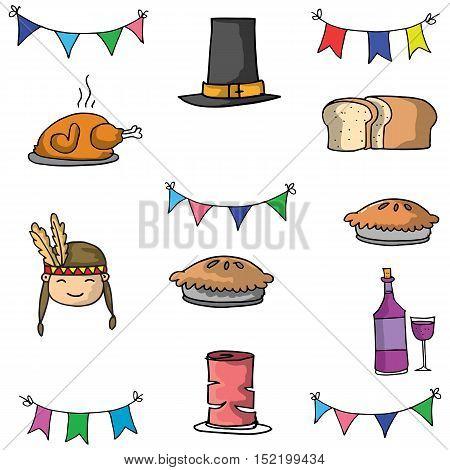 Doodle of thanksgiving food hat vector art illustration