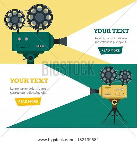 Professional Video Camera Banner Horizontal Set. Flat Design Style. Vector illustration