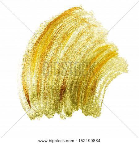 Golden grunge wavy acrylic brushstrokes. Element for different design
