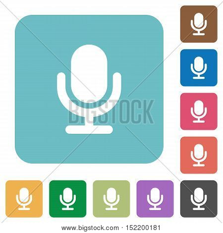 Flat microphone icons on rounded square color backgrounds.