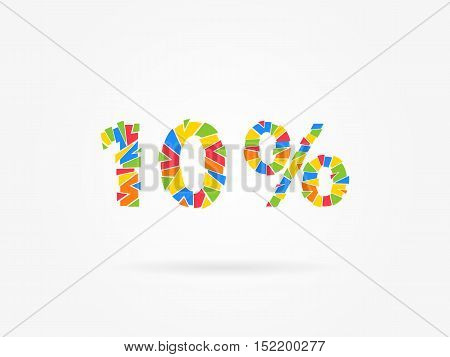 10 percent discount colorful vector illustration on grey background. 10 percent off discount creative promotion concept. Special offer isolated element for banner coupon label retail marketing.