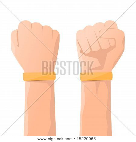 Yellow wristband or rubber bracelet on hand use for advertising promotion and presentation with logo. vector illustration.