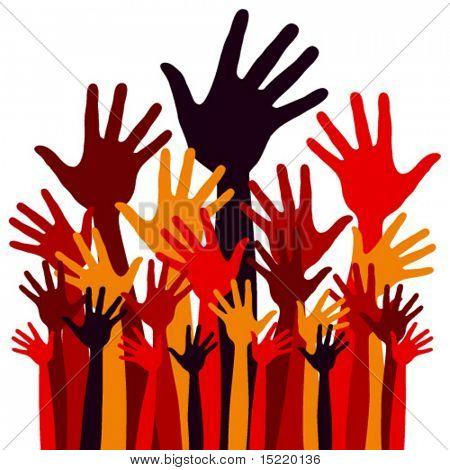Grande grupo de vetor de mãos feliz.