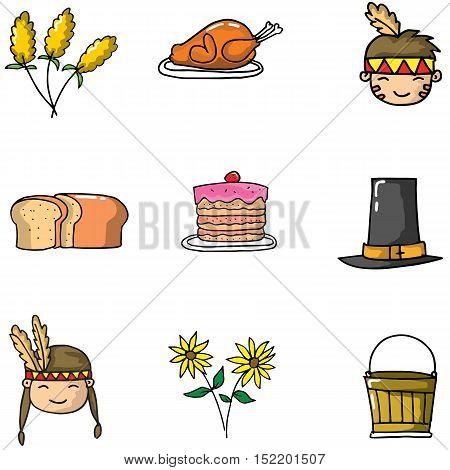 Doodle of element thanksgiving vector art illustration