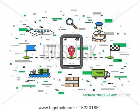 Vector package tracking colorful linear illustration. Parcel tracking package shipment online creative concept. Business logistic technology graphic design.