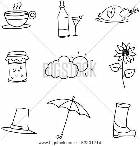 Hand draw element thanksgiving on doodles vector illustration