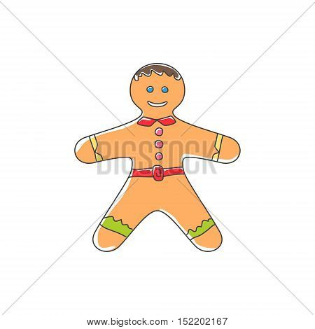 Christmas Cookie Gingerbread Man Decorated White Icing and Cream Isolated on White Background , Vector Illustration