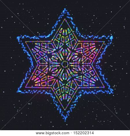 Christmas Glowing Colorful Hexagonal Star. Design Element of Celebratory Decor.