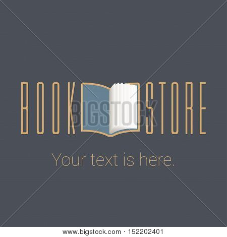 Bookstore bookshop vector emblem sign symbol logo icon. Template design element with open book for business related to books - publishing studying e-books