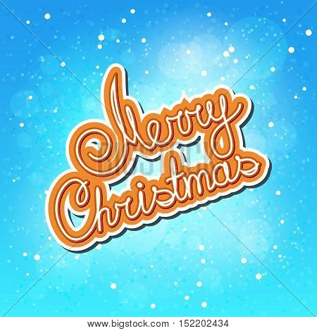 Falling Snow on Blue Background and Orange Text Merry Christmas, Poster Brochure Design, Winter Background , Vector Illustration