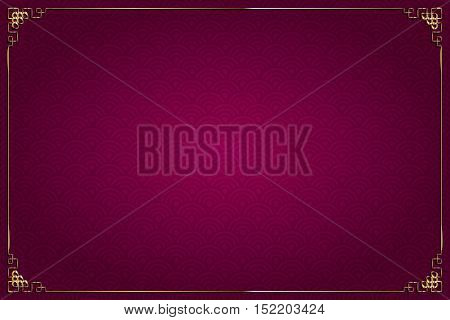 Red Background Chinese Style And Gold Decoration