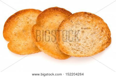 crusty bread toast slices isolated on white background cutout