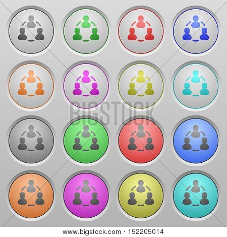 Set of online users plastic sunk spherical buttons.