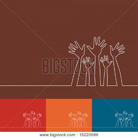 Ilustração de linha simples do vetor de mãos.