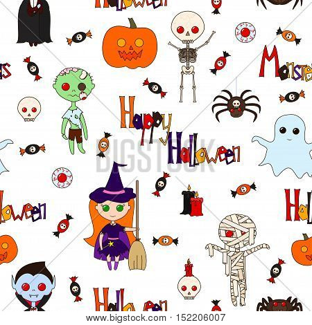 Seamless pattern with cute cartoon monsters various objects and words (Happy Halloween Monster) decorated in bright colors on a white background. Vector illustration