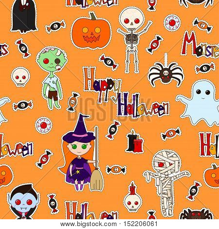 Seamless pattern with cute cartoon monsters various objects and words (Happy Halloween Monster) decorated in bright colors on an orange background. Vector background with stickers pins patches.