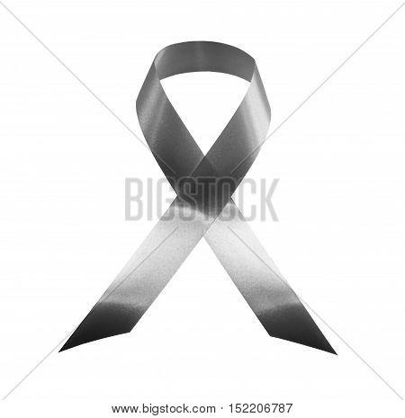Black awareness ribbon, Mourning and melanoma symbol, isolated on white background