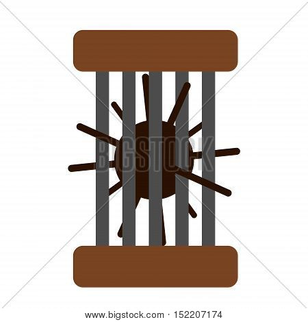 Hedgehog in the cage. Isolated vector illustration.