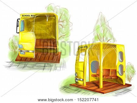 school bus stop and green trees on white