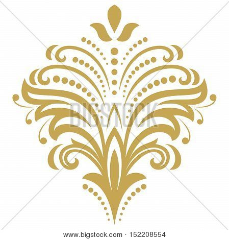 Floral vector golden pattern with fine arabesques. Abstract oriental ornament