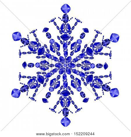 snowflake shape from blue sapphire gems isolated on white background