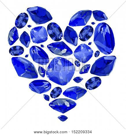 heart shape symbol from blue sapphire gems isolated on white background